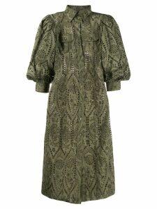 Ganni Broderie Anglaise shirt dress - Green