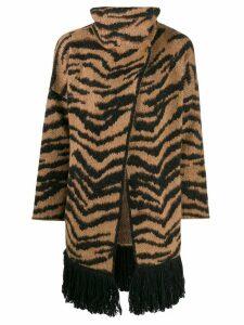 LIU JO tiger jacquard cardi-coat - Brown
