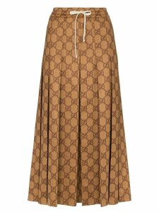 Gucci GG logo print midi skirt - Brown