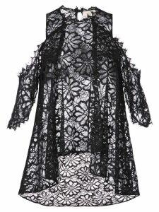 Nicole Miller lace flared pattern transparent top - Black