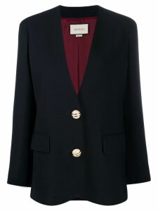 Gucci button-embellished collarless blazer - Blue