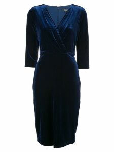 Badgley Mischka pleated drape column dress - Blue