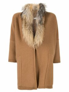 Fabiana Filippi fur trim cardi-coat - Brown