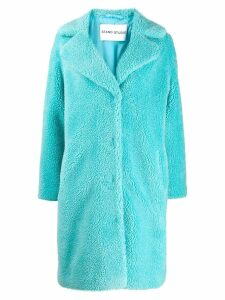 Stand faux-shearling coat - Blue