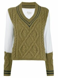 Maison Margiela panelled cable knit jumper - Green