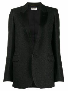 Saint Laurent single-breasted textured blazer - Black