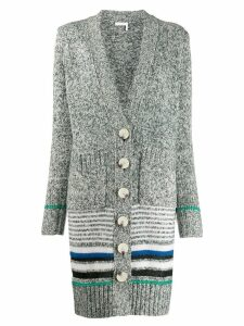 See By Chloé striped long cardi-coat - Grey