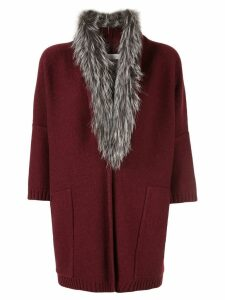 Fabiana Filippi fur trim cardi-coat - Red