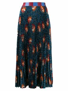 Stella Jean pleated midi skirt - Blue