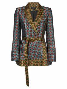 Saloni geometric print belted blazer - Blue