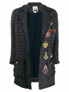 Edward Achour Paris metallic threaded woven coat - Blue