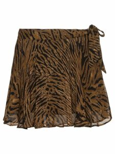 Ganni tiger print midi skirt - Brown