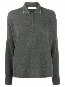 Fabiana Filippi oversized knit polo shirt - Grey