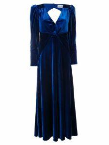 Self-Portrait long V-neck dress - Blue