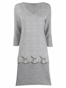 D.Exterior embroidered shift dress - Grey