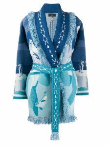 Alanui iceberg print cardi-coat - Blue
