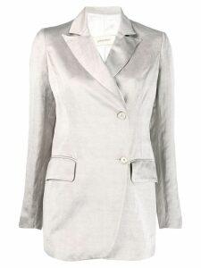 Gentry Portofino silky wrap front blazer - Neutrals