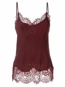 Gold Hawk lace detail top - Red