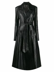 A.W.A.K.E. Mode Trinity long belted coat - Black