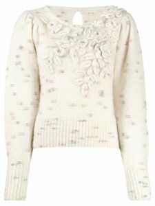 Love Shack Fancy fitted embroidered jumper - Neutrals