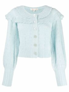 Love Shack Fancy Ruffled Eyelet knit cardigan - Blue
