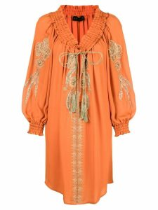 Dundas floral embroidery dress - Orange