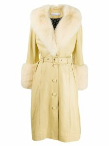 Saks Potts faux fur belted coat - Yellow