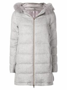 Herno hooded cashmere padded coat - Grey