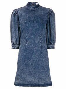 Ganni puff sleeve denim dress - Blue