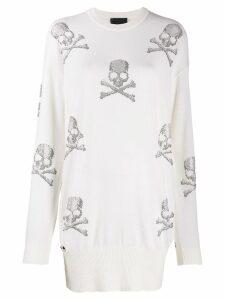 Philipp Plein Skull jumper dress - White