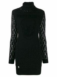 Philipp Plein embellished sleeves knitted dress - Black