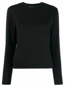 Y-3 logo print long sleeve top - Black