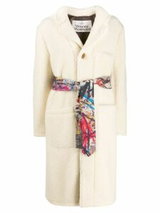 Vivienne Westwood Anglomania single breasted shearling coat - White