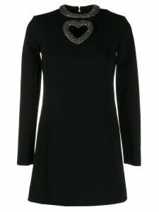 Saint Laurent embellished heart cut-out mini dress - Black