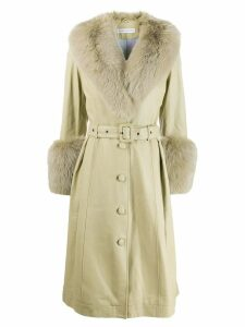 Saks Potts Foxy trimmed coat - Green
