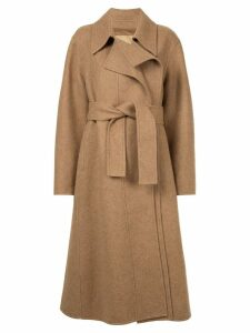 System belted long coat - Brown