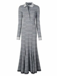 Y/Project long striped polo-neck dress - Blue