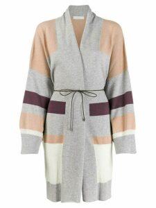 Fabiana Filippi striped print cardi-coat - Grey