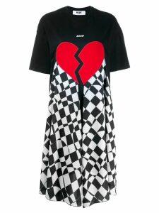 MSGM broken heart foulard T-shirt dress - Black