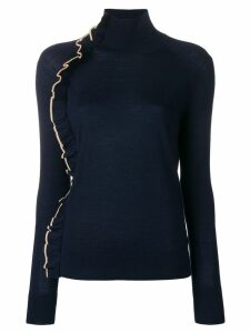 Victoria Victoria Beckham contrast-trim ruffle sweater - Blue