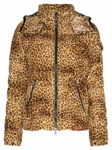 Moncler Bady Leopard Print Down Coat - Brown