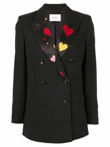 Racil Woody heart-print lapel blazer - Black
