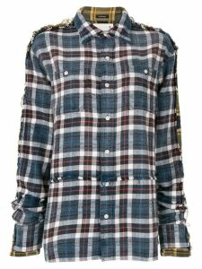 R13 frayed plaid shirt - Multicolour