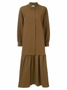 Co dropped waist poplin shirt dress - Brown