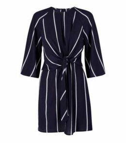 AX Paris Navy Stripe Tie Front Mini Dress New Look