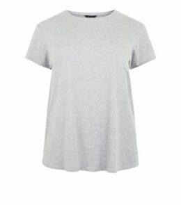 Curves Dark Grey Cotton Blend T-Shirt New Look
