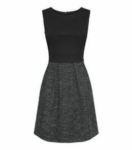 Mela Black 2 Tone Sleeveless Pleated Skater Dress New Look