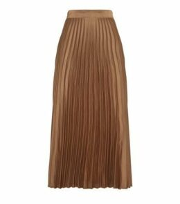 Light Brown Satin Pleated Midi Skirt New Look