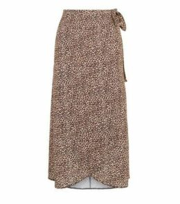 Brown Leopard Print Wrap Midi Skirt New Look