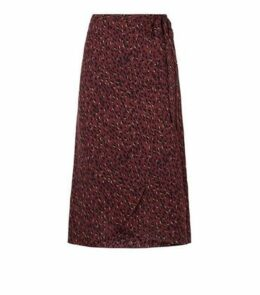 Petite Red Spot Side Split Midi Skirt New Look